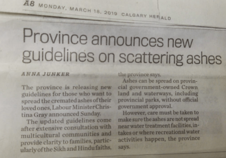 Province announces new guidelines on scattering ashes